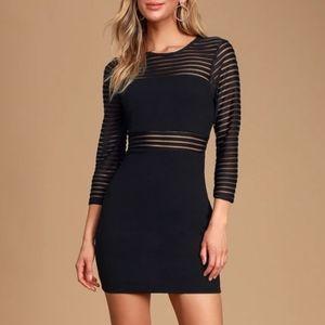 Lulu's Black Mesh Bodycon Dress